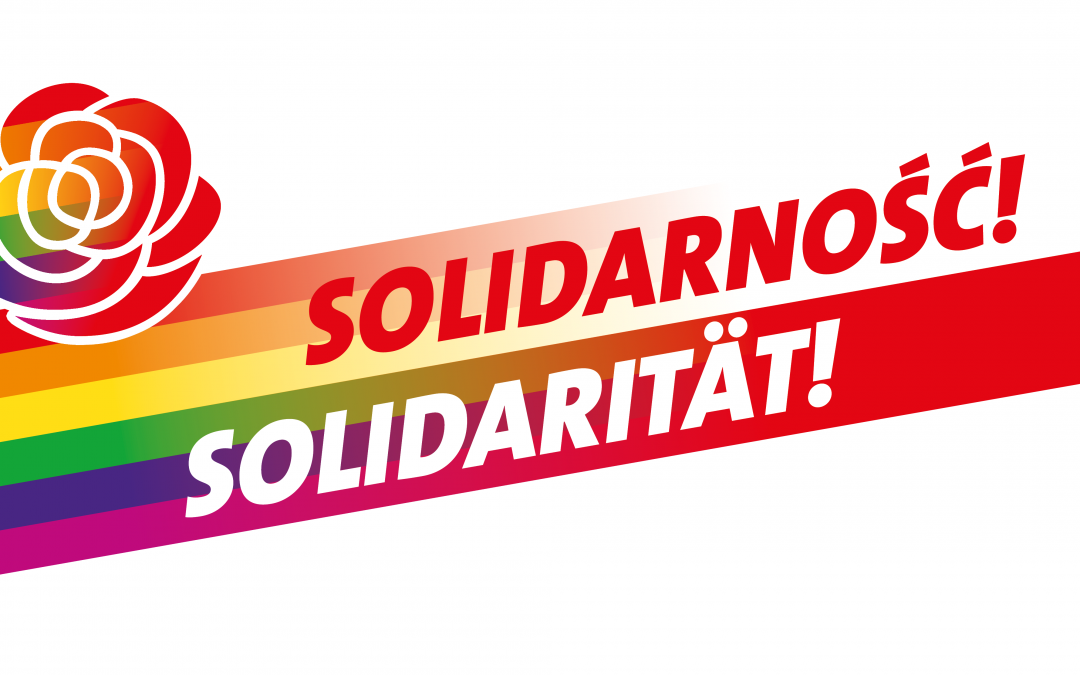 SPDqueer Sachsen und SPD Dresden zeigen auf dem CSD ihre Solidarität mit der LSBTIQ* Community in Polen
